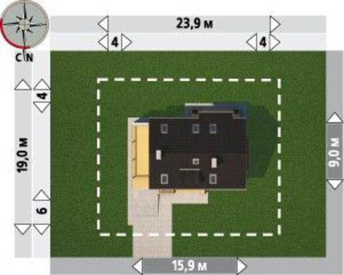 План двухэтажного коттеджа на четыре спальни с гаражом