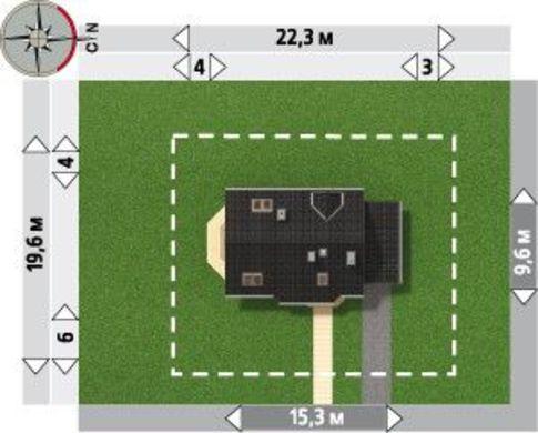 План красочного жилого дома с гаражом
