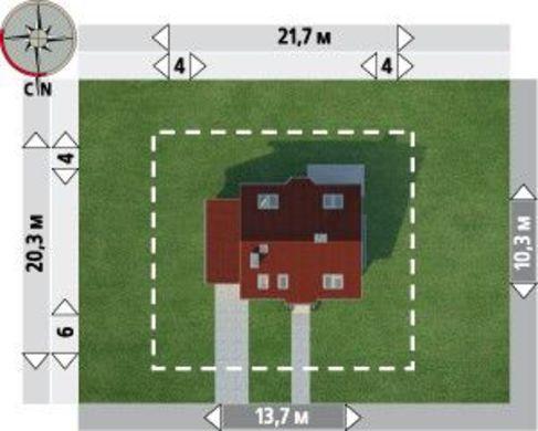 Симпатичный проект небольшого дома с мансардой с гаражом на 1 авто