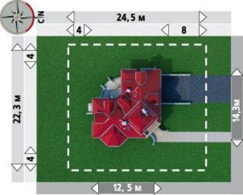 Планировка интересного особняка на 231 кв. м с эркером в гостиной зоне