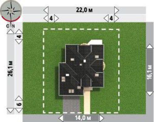 План вместительного коттеджа площадью 241 кв. м с двумя эркерами