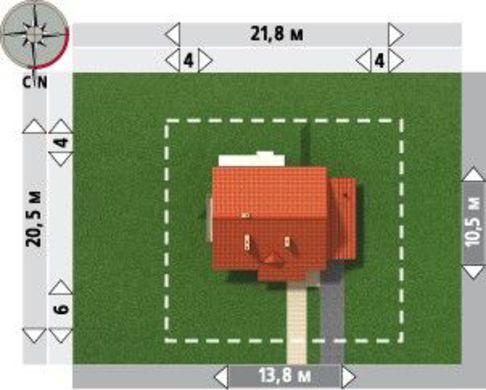 Проект дома с пристроенным гаражом в деревенском стиле
