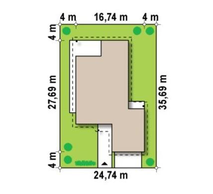 Одноэтажный проект коттеджа для узкого участка с большим гаражом