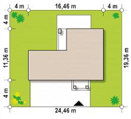 Проект небольшого двухэтажного коттеджа с гаражом в пристройке