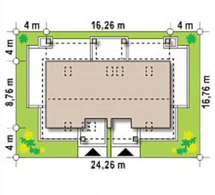 Компактный мансардный коттедж на две семьи
