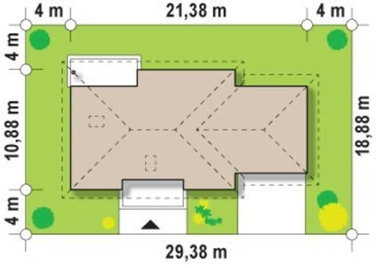 Проект одноэтажного дома с двухместным гаражом