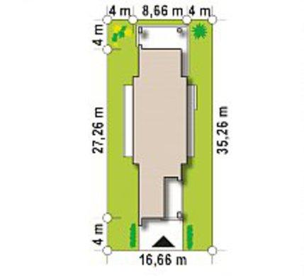 Модерновый одноэтажный коттедж для узкого участка
