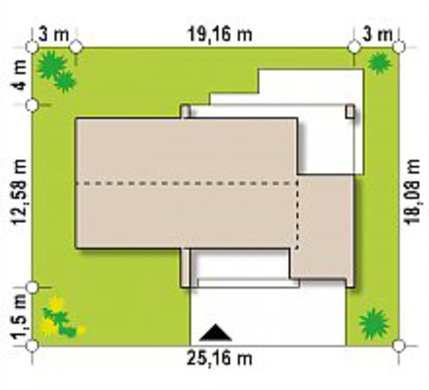 Одноэтажный классический коттедж для узкого участка площадью 130 m²
