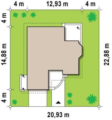 Проект мансардного дома с гаражом и эркером