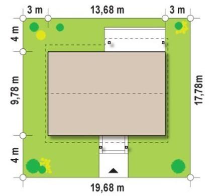 Проект небольшого одноэтажного дома с просторными помещениями