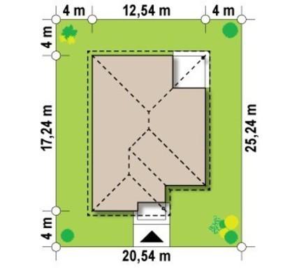 Одноэтажный уютный коттедж с угловой террасой