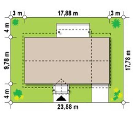 Проект одноэтажного загородного коттеджа вытянутой формы