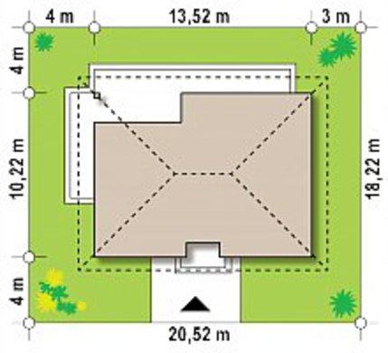 План коттеджа площадью 124 кв. м для узкого участка