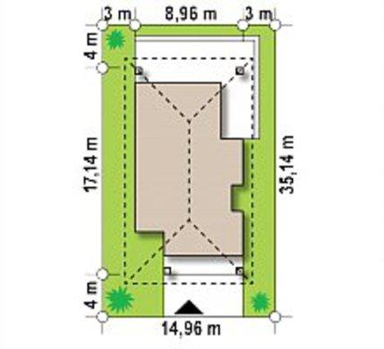 Планировка дачного дома на 89 кв. м с тремя спальнями