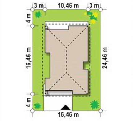 Проект одноэтажного коттеджа на 120 кв. м с четырехскатной крышей из металлочерепицы