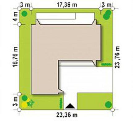 План симпатичного коттеджа на 170 кв. м со встроенным гаражом на две машины