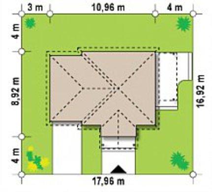 Планировка сезонного дома площадью 68 кв. м с одной спальней