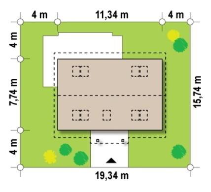 План симпатичного коттеджа на 149 кв. м с красивым порталом