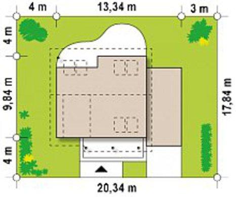 Чертеж современного коттеджа площадью 151 кв. м с пристроенным гаражом