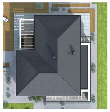Современный одноэтажный стильный дом с гаражом, рассчитанным на два автомобиля