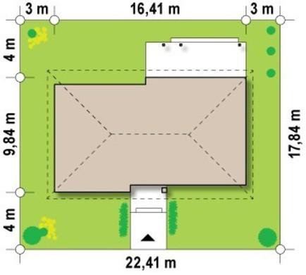Светлый одноэтажный недорогой классический коттедж