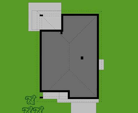 План большого одноэтажного дома со встроенным гаражом на два автомобиля общей площадью 178 кв. м, жилой 80 кв. м