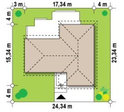Проект 1-этажного коттеджа с фронтальным гаражом для двух машин
