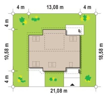 Проект дома с жилой мансардой и гостевой спальней на первом этаже