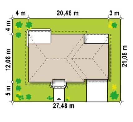 Проект одноэтажного коттеджа с гаражом в классическом стиле для двух автомобилей