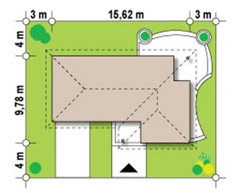 Проект стильного одноэтажного дома с четырехскатной крышей и гаражом