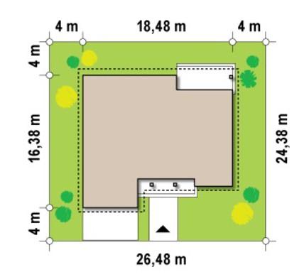 Проект дома с фронтальным гаражом для 2-х машин