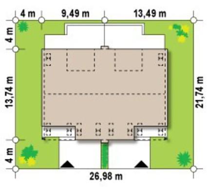 Проект двухэтажного симметричной планировки дома на две семьи