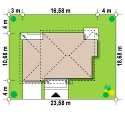 Двухэтажный коттедж с четырёхскатной кровлей