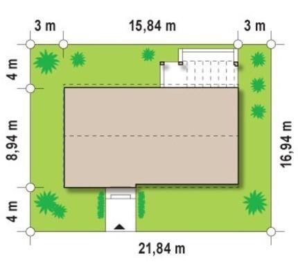 Одноэтажный современный коттедж для узкого участка