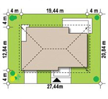 Проект классического 1 этажного дома с мансардой, кирпичным фасадом и гаражом