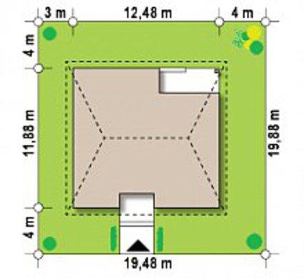 Проект 1 этажного дома по типу 4M250 с кирпичным фасадом