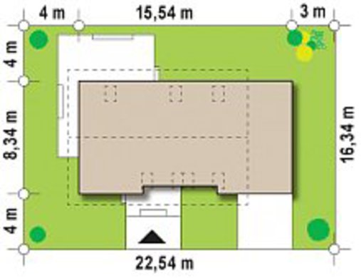Проект дома с мансардой по типу 4M258 с гаражом на 1 машину