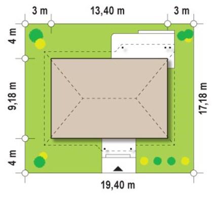 Вариант проекта одноэтажного коттеджа по типу 4M474 в каркасном исполнении