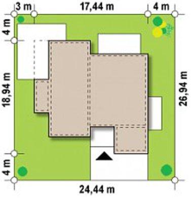 Версия проекта дома 4M588 в стиле хай тек с гаражом на 2 машины
