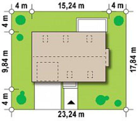 Уменьшенный вариант проекта современного дома с кухней студио 4M648