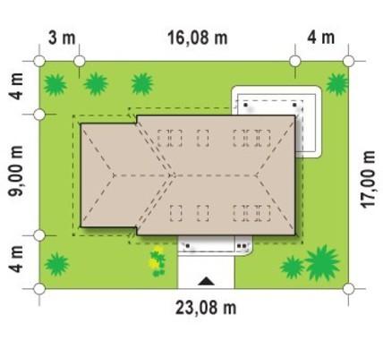 Загородный 1,5-этажный домик с угловым окном на кухне