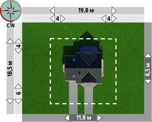 Проект небольшого загородного дома с угловым эркером