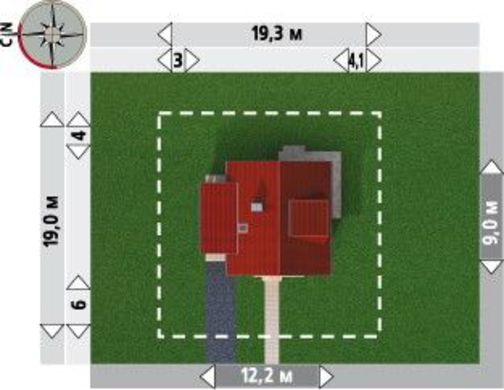 Проект оригинальной небольшой усадьбы с четырьмя большими комнатами