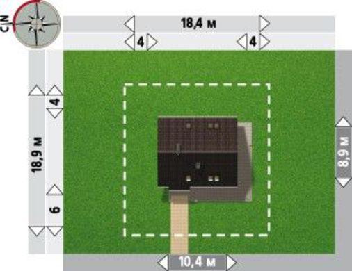 Простой загородный коттедж небольшого размера