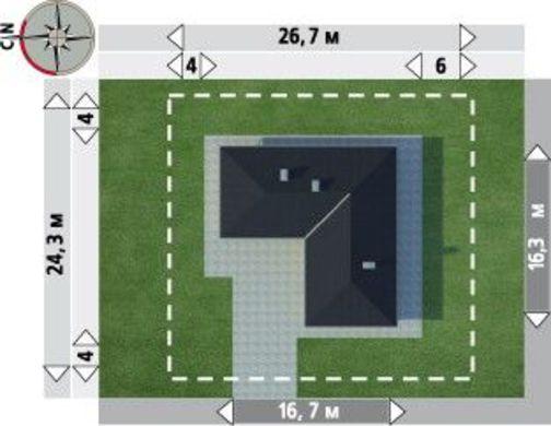Загородный коттедж с дизайном в форме буквы Г