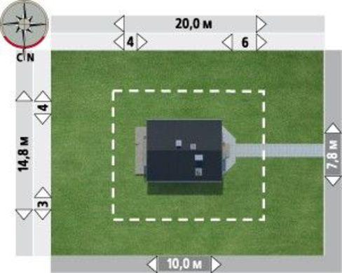Проект просторного коттеджа дачного типа с мансардой