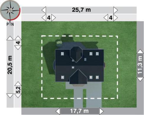 Проект коттеджа с мансардой и полукруглым балконом над эркером