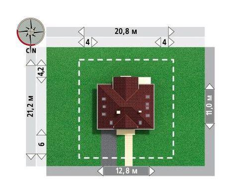 Проект дома с четырехскатной кровлей и гаражом на одно авто