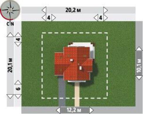 1,5-этажный дом с пристроенным гаражом